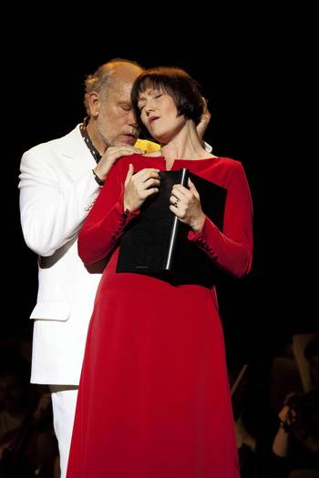 "John Malkovich in ""The Infernal Comedy"" with soprano Laura Aikin."