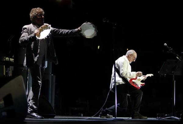 "Roger Daltrey, left, and Pete Townshend perform ""The Real Me"" during the Who's performance of the rock opera album ""Quadrophenia"" in its entirety at Staples Center on Wednesday night."