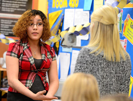 Kiana Roman, a senior at Allen High, left, debates Nikki Stansbury, an 11th grader at Central Catholic in their session Thursday morning. William Allen High School hosted its first competitive Debate in six years. The competing high schools included: Allentown Central Catholic, Dieruff, Emmaus, Parkland and Whitehall.