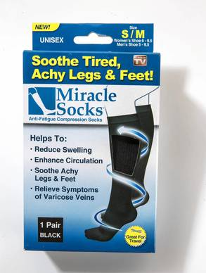 """Miracle Socks, $10, <a href=""""http://getmiraclesocks.com""""><b>getmiraclesocks.com</b></a><br><br>  <b>The promise:</b> """"Soothe, massage and energize your legs and feet;"""" don't look like """"ugly medical compression socks.""""<br><br>  <b>The facts:</b> Look like ordinary trouser socks but more supportive ¿ but not soothing or energizing.<br><br>  <b>Ellen says:</b> So-so; wish they cost half as much.<br>"""