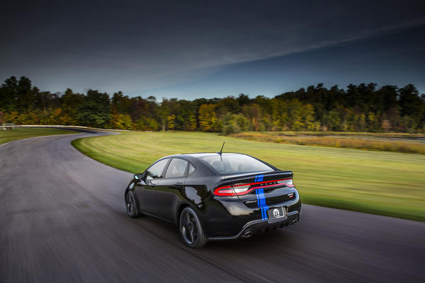 This Mopar '13 Dart will debut at the 2013 Chicago Auto Show. It has a turbocharged four cylinder engine and a manual transmission. Only 500 copies will be made.