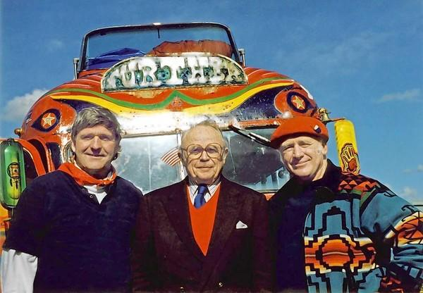Sterling Lord (center) with author Ken Kesey, right, and Ken Babbs in front of a replica of Kesey's psychedelic bus, Further, in 1996.