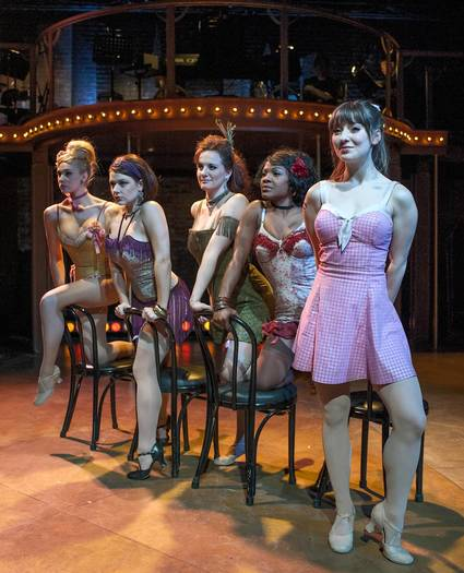 "Emily Ariel Rogers, Katie Spelman, Ericka Mac, Karen Burthwright and Tiffany Topol in ""Sweet Charity."""