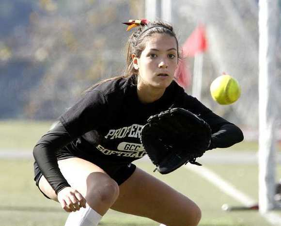 Claire Ortiz is part of what should be a skilled infield for the Glendale Community College softball team this season. Ortiz, who will be playing first base this year, played shortstop for Crescenta Valley High last year.