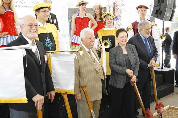 From left, Dr. William Hall, Sebastian P. and Marybelle Musco, and opera superstar Placido Domingo at the groundbreaking ceremony for the $64-million, 1,100-seat Marybelle and Sebastian P. Musco Center for the Arts at Chapman University in Orange.
