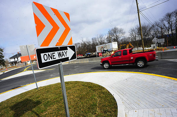 A new traffic circle redirects Poffenberger and Garis Shop roads at U.S. Alt. 40 east of Funkstown.