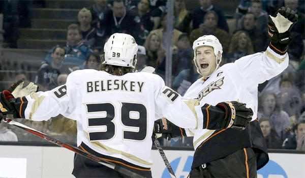Matt Beleskey celebrates after scoring against the San Jose Sharks with center Ryan Getzlaf. The Ducks lost, 3-2, but the team feels good about its play.
