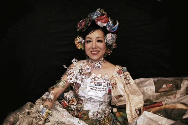 Miyuki Nishizawa will perform and lead workshops while the Japanese Gutai artists are in Allentown. She is known as 'The Newspaperwoman' for her performance art in which she wears giant clothing made from discarded newspapers.