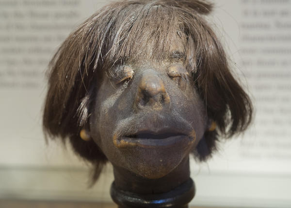 This authentic human head was created in early 1930's for collectors in the Eastern Andean Vallies of South America, is on display at The Mutter Museum of The College of Physicians of Philadelphia. The museum is billed as the city's disturbingly informative museum.