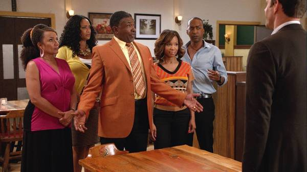 "Ella Joyce, from left, Tami Roman, Keith David, Elise Neal and Miguel Nunez in ""Belle's."""