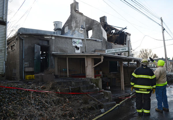 Allentown fire department on the scene at Youell's Oyster House in Allentown. The restaurant was destroyed in an early morning fire Tuesday.