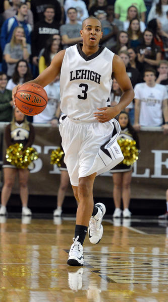 Lehigh's C.J. McCollum (3) dribbles against Fairleigh Dickinson during a men's basketball held at Stabler Arena on Saturday.