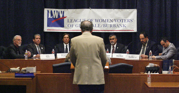 City council candidates listen to the moderator give instructions in the city council chambers at Burbank City Hall where the League of Women Voters held candidate forums for the upcoming local elections on Wednesday, January 30, 2013.