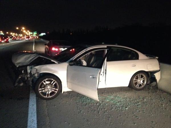 A woman was injured and several cars damaged in a multi-vehicle crash on I-95