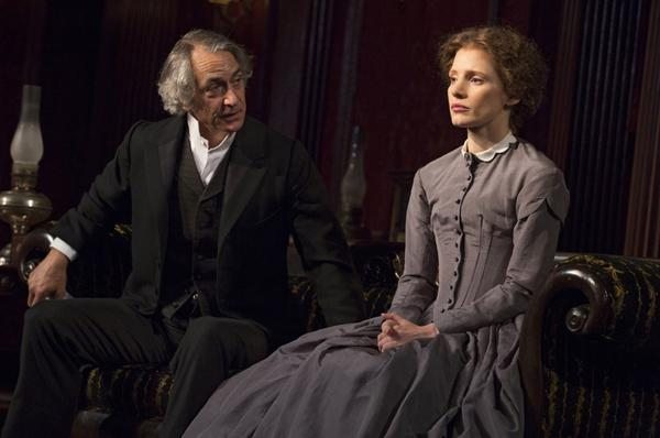 "Jessica Chastain and David Strathairn as father and daughter in a scene from ""The Heiress"" on Broadway."