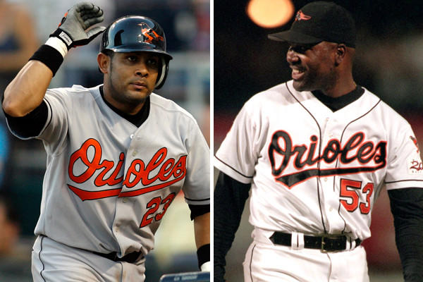 The Orioles have taken a look at Fernando Tatis (left) and Arthur Rhodes this week. Tatis, 38, played for the O's in 2006, and Rhodes, 43, was with the team from 1991-99.