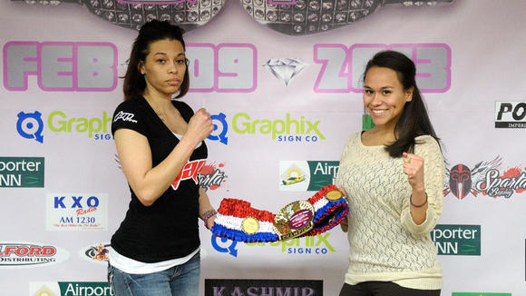 Jessica Kizziah of ATAP MMA Holtville (left) and Norma Gonzalez of Sparta Boxing El Centro (right)