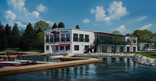 This schematic drawing shows what the Barrel Back restaurant and Water's Edge marina should look like once complete.