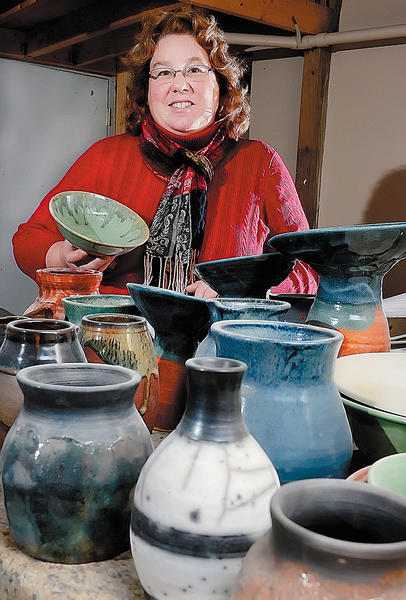 Funkstown veterinarian Ginny Scrivener donated bowls she made to the Potter's Bowl. The annual fundraiser benefits Community Free Clinic of Washington County.