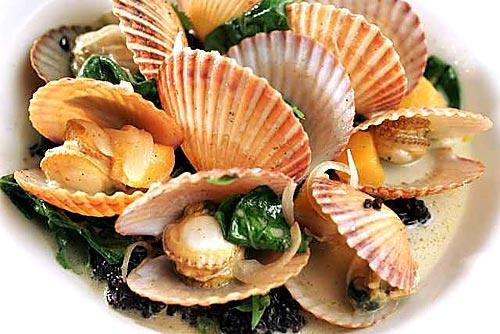 <b>DISH: </b>Taylor Bay scallops with green curry, black rice, Tahitian squash and Bloomsdale spinach.