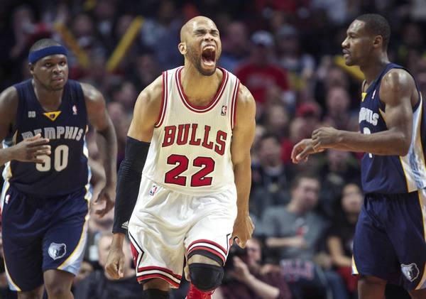 Chicago Bulls' Taj Gibson celebrates during a game against the Memphis Grizzlies.