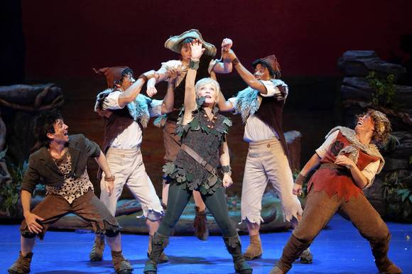 "Cathy Rigby and The Lost Boys in ""Peter Pan."""