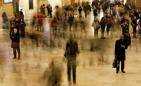 A blurred exposure of people walking through Grand Central Terminal in New York is on display. The famed Manhattan transit hub turns 100 years-old on Feb. 1. Each day 700,000 people pass through the terminal where Metro-Noth Railroad operates 700 trains per day.