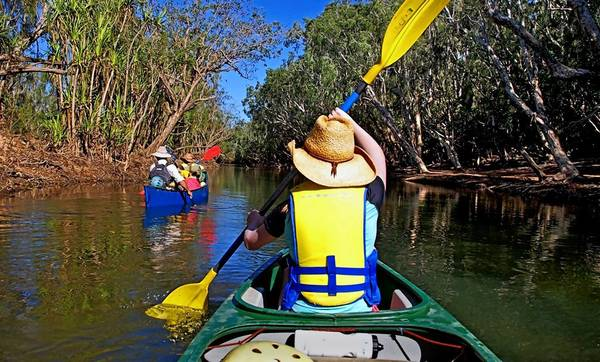 The Katherine River in Australia's Northern Territory is a place to peacefully kayak or canoe and bird-watch during the March-through-October dry season.