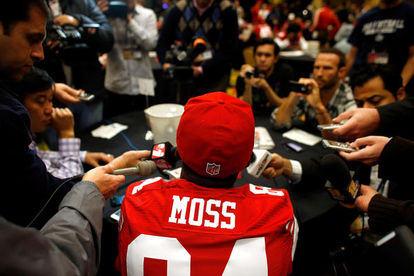Randy Moss #84 of the San Francisco 49ers addresses the media during Super Bowl XLVII Media Availability at the New Orleans Marriott on January 31, 2013 in New Orleans, Louisiana. The 49ers will take on the Baltimore Ravens on February 3, 2013 at the Mercedes-Benz Superdome.