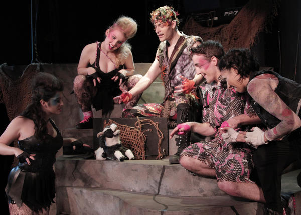 "Chance Theater's production of ""Triassic Parq: The Musical,"" with, from left, Micaela Martinez, Kellie Spill, Jackson Tobiska, Keaton Williams and Alex Bueno as the genetically engineered dinosaurs from ""Jurassic Park."""