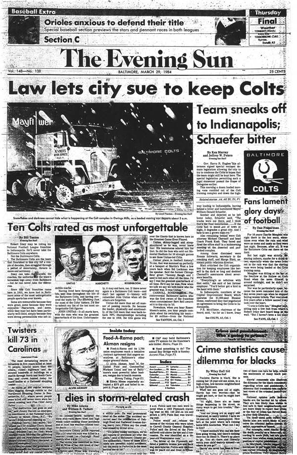 Sun archives: Baltimore Colts photos - The sad news