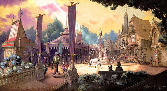 An artist's rendering of the main entrance leading into Fantasy Faire princess meet-and-greet area coming to Disneyland.