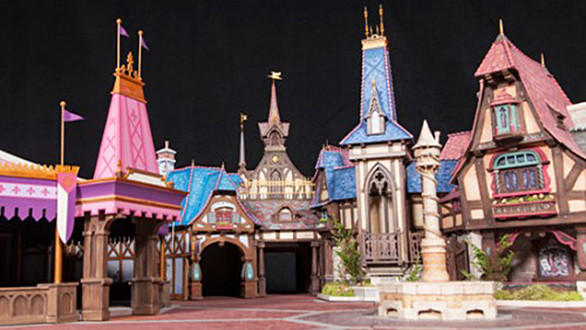 A close-up look at the Fantasy Faire building facades in a scale model of the enchanted village coming to Disneyland.