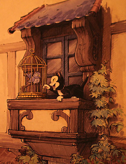 Fantasy Faire at Disneyland will include an animatronic cat pawing at a caged bird sitting on a window sill.