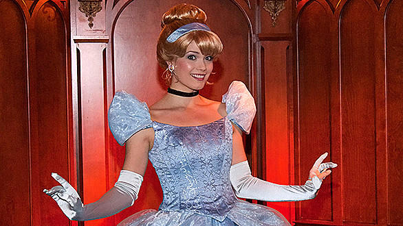The Royal Hall meet-and-greet will feature photo and autograph opportunities with three princesses, but you won't know exactly which ones until you get inside (with Cinderella shown here).