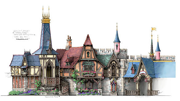 A detailed elevation drawing showing the facade of the princess meet-and-greet attraction at Disneyland's Fantasy Faire.