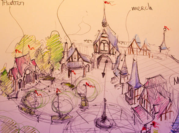 A rough drawing showing an early layout concept of the Fantasy Faire princess village coming to Disneyland.