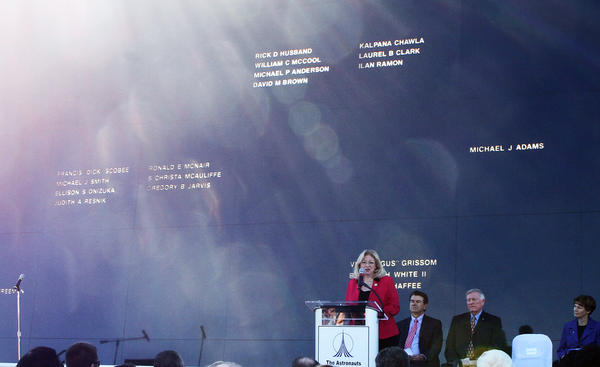 Evelyn Husband-Thompson, widow of Commander Rick Husband, speaks during a ceremony Friday, February 1, 2013 to honor the crew of space shuttle Columbia, STS-107 in remembrance of the 10th anniversary of Columbia disaster. The ceremony was held at the Kennedy Space Center Space Mirror Memorial.