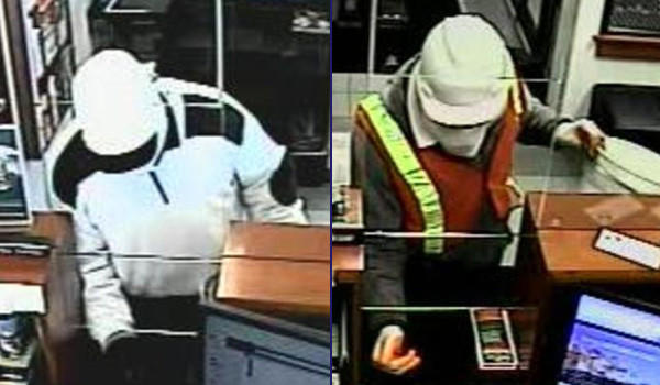 A man who robbed the North Community Bank branch at 4701 N. Clark this morning (left) is believed to have robbed the same bank in December  (right).