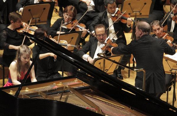 French pianist Lise de la Salle plays with the Los Angeles Philharmonic, conducted by Gianandrea Noseda in an all-Rachmaninoff program at Walt Disney Concert Hall in Los Angeles.