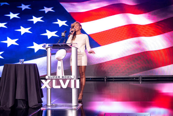 "All those who doubted Beyonce's vocal prowess in the wake of the Obama inaugural ""Lip-Sync-Gate"" should find a corner suitable for shamed cowering.  At a Thursday news conference tied to her upcoming Super Bowl halftime show appearance, the superstar singer quickly and judiciously killed any doubts that she can tackle the national anthem -- live and a capella.   Before making any Super Bowl statements or taking a single question, Beyonce asked the assembled members of the media to stand. Then she reeled off a triumphant and definitively backing-track-less version of the ""The Star-Spangled Banner"" for the gob-smacked audience.   <br><br> <strong>Full story:</strong> <a href=""http://www.latimes.com/entertainment/music/posts/la-et-ms-beyonce-national-anthem-super-bowl-news-conference-20130131,0,7144124.story"">Beyonce belts out national anthem at Super Bowl news conference</a> 