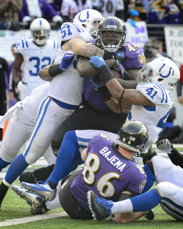 "The Ravens have stubbornly stuck by the run, recognizing that ground-and-pound is essential to winning in the post-season. Vonta Leach is one of the last fullbacks in the <a class=""taxInlineTagLink"" id=""ORSPT000007"" title=""National Football League"" href=""/topic/sports/football/national-football-league-ORSPT000007.topic"">NFL</a> -- a position that's going extinct in an era of pass-happy football. At 6 feet, 260 pounds, he's a beast, known for throwing vicious blocks and even catching the occasional short pass. Third-and-goal with one yard to go? Send in Leach."