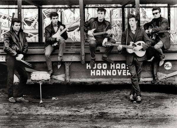 Pete Best, left, George Harrison, John Lennon, Paul McCartney and Stuart Sutcliffe at Hugo Hasse Fun Fair in 1960.