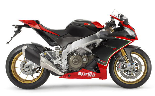 Italian motorcycle manufacturer Aprilia has cut prices on machines featuring its V-4 engine, like this RSV4 Factory street racer.