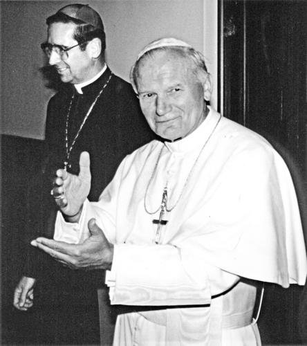 Pope John Paul II with then-Archbishop Roger Mahony in 1987.