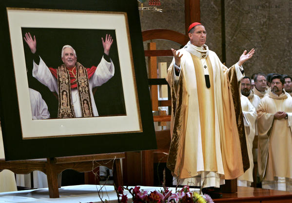 Cardinal Roger Mahony celebrates a special Mass at the Cathedral of Our Lady of the Angels in Los Angeles to celebrate the ordination of Pope Benedict XVI.
