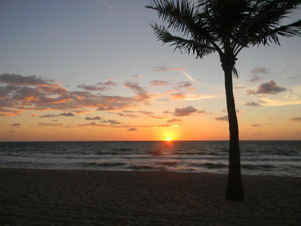 Gentle sunrise over Fort Lauderdale's beach.