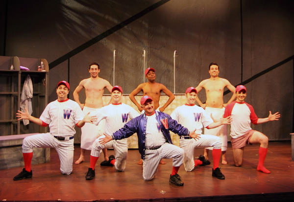 "Coach Van Buren (Jack Livesey) and the Senators sing ""Heart"" in ""Damn Yankees"" at the Stage Door Theatre in Coral Springs."