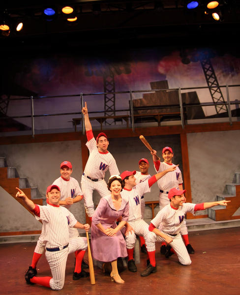 "Gloria Thorpe (Allison Maldonado) and the Senators sing, ""Shoeless Joe From Hannibal, Mo"" in ""Damn Yankees"" at the Stage Door Theatre in Coral Springs."
