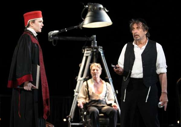 "Lily Rabe, left, in a scene from the Public Theatre's 2010 production of ""The Merchant of Venice,"" with Byron Jennings and Al Pacino."